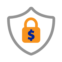 Shield with lock and dollar sign Icon